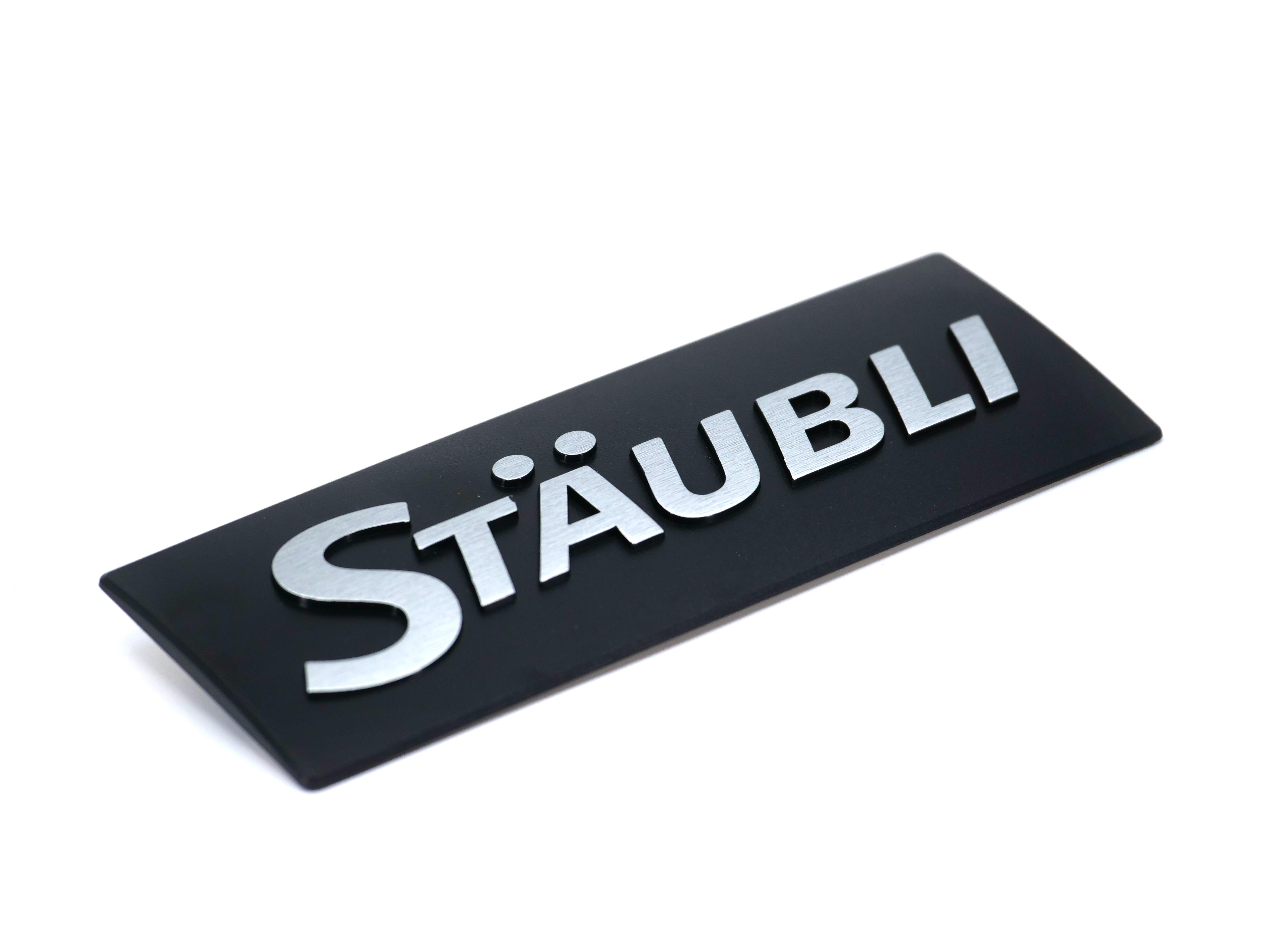 Hot stamping STAUBLI label
